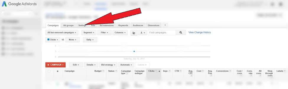 AdWords Campaign settings tab