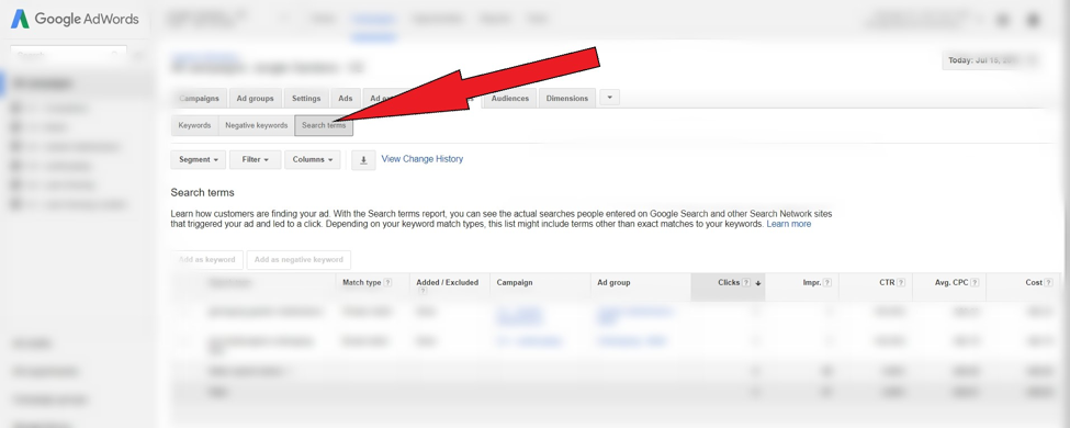 AdWords search terms tab