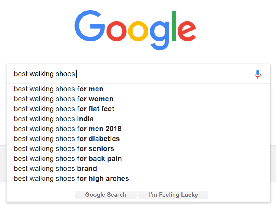 Google's search suggestions
